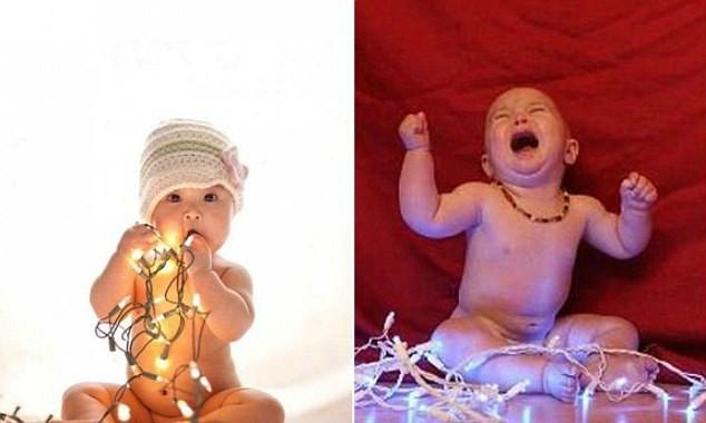 bebe jugando con luces de navidad