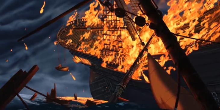 imagen animada de barco y fuego