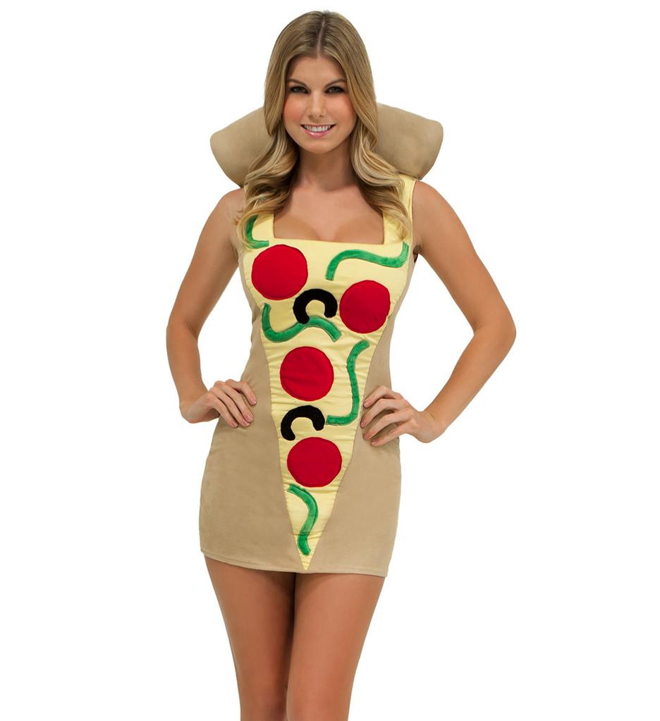 chica con vestido de pizza