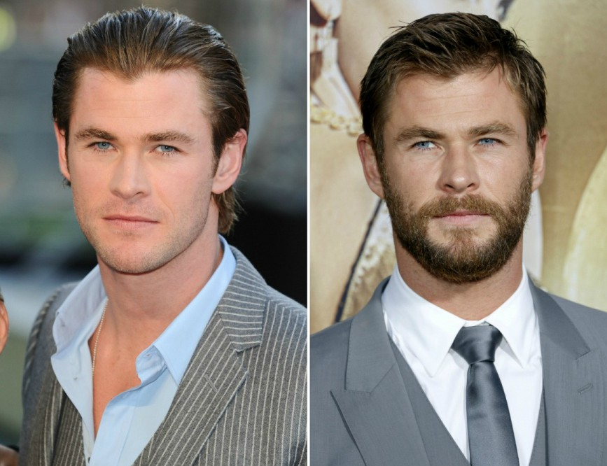 chris hemsworth con y sin barba