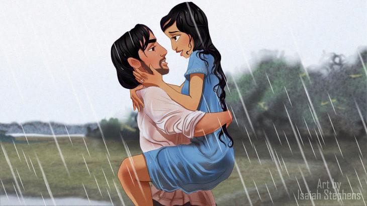 hombre cargando a una mujer en la lluvia