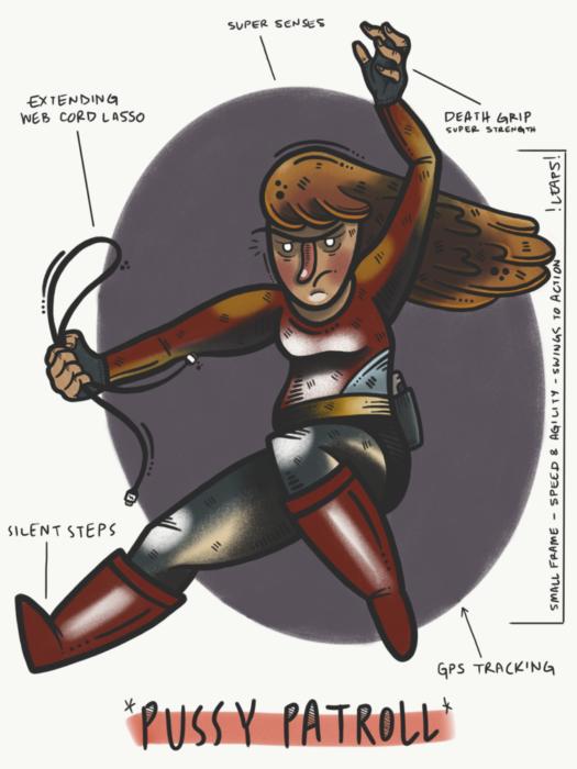 caricatura de mujer con cabello largo