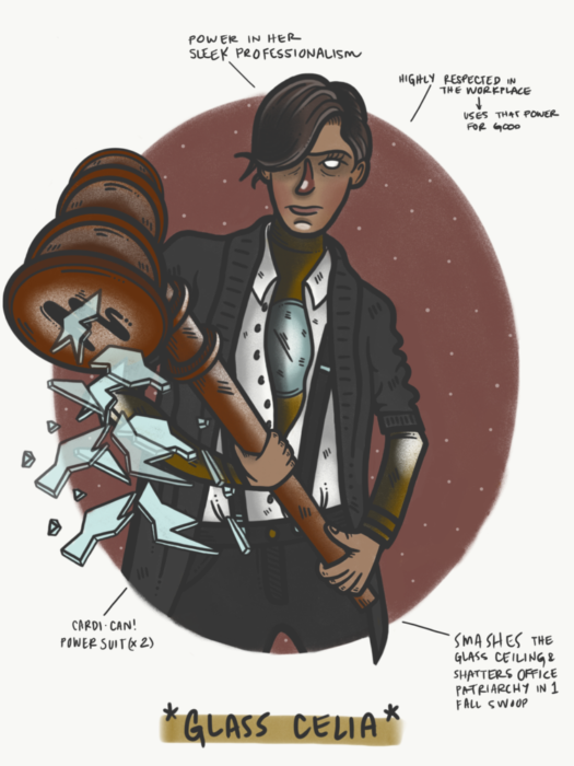 dibujo de mujer con martillo y cabello corto