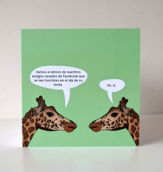 tarjeta con ilustración jirafas platicando