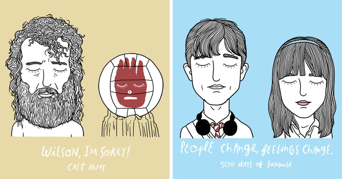 16 Ilustraciones de Alejandro Giraldo sobre el triste amor en la pantalla