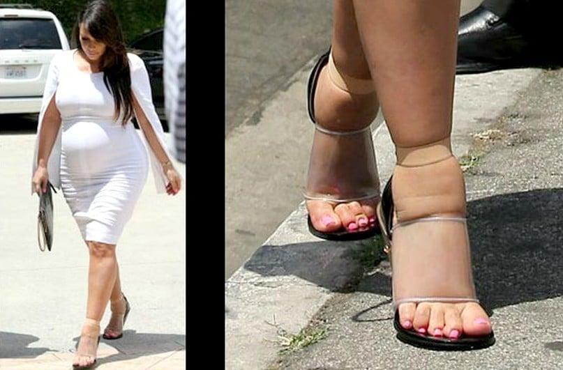 kim kardashian con zapatillas apretadas editada