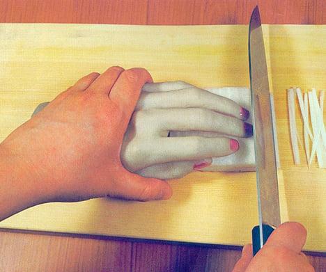 dedos para no cortarse
