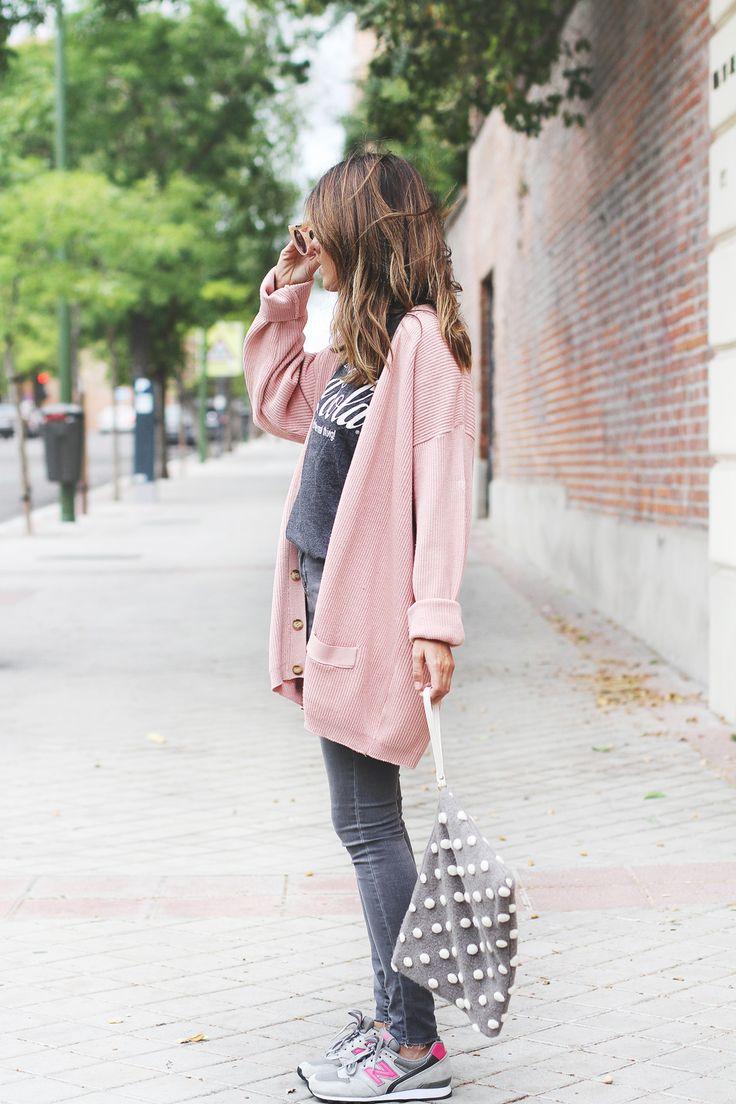 moda fin de semana 2017 suéter rosa largo