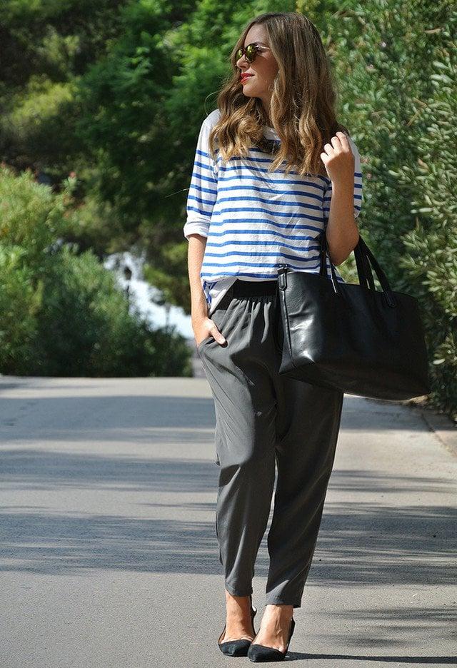 moda fin de semana 2017 blusa de rayas azules