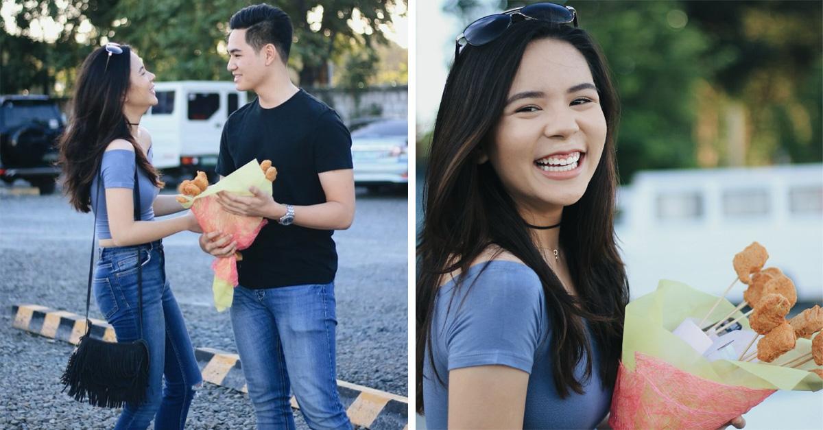 El romanticismo no ha muerto: Este chico le regalo a su novia un ramo de nuggets