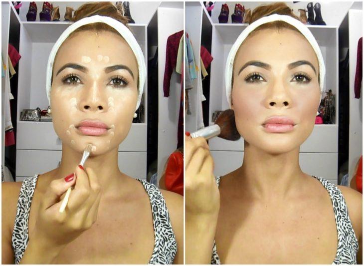 Chica dando un tutorial de maquillaje