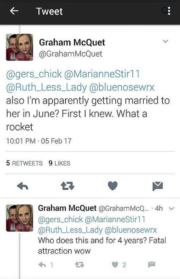 tweet graham mcquet dice que se va a casar