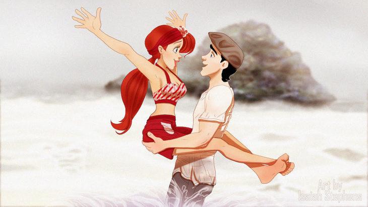 ilustración de hombre cargando a chica en sus brazos