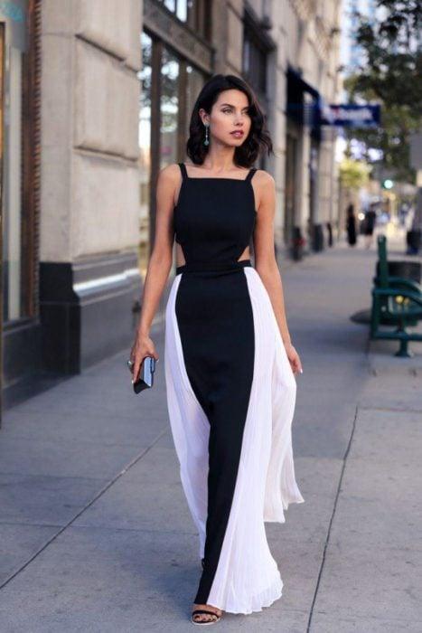 vestido en dos colores