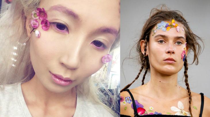 mujer con maquillaje de flores
