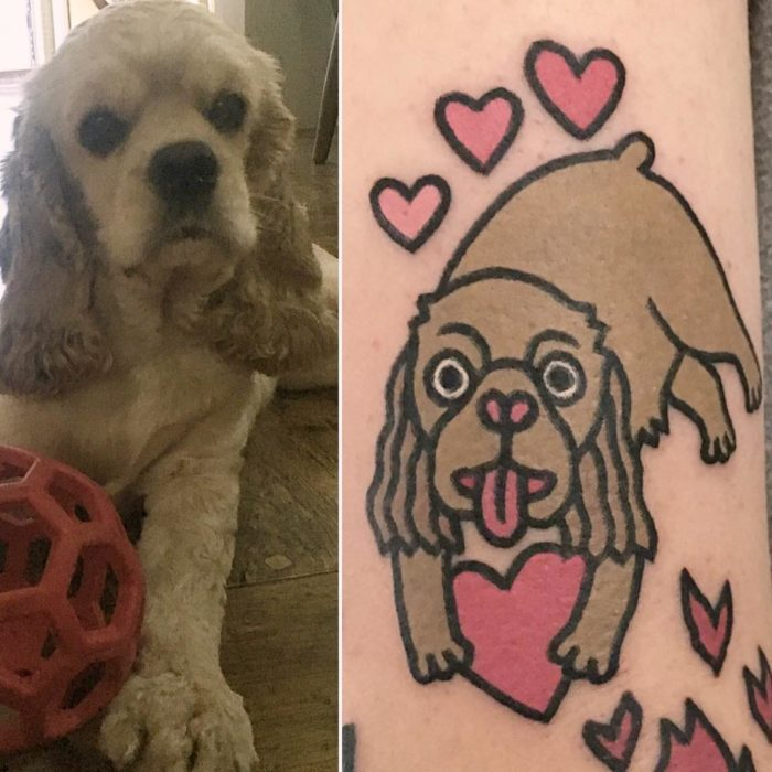 foto de perro y tatuaje de gato y foto de perro