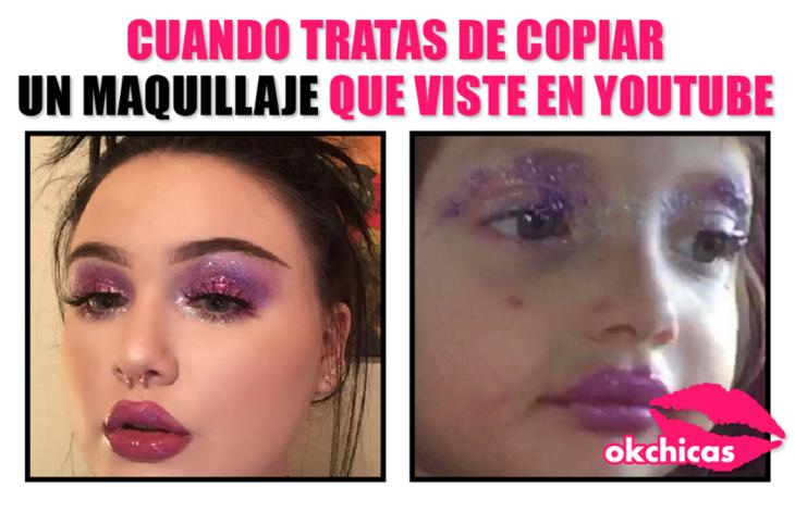 mujer con maquillaje morado