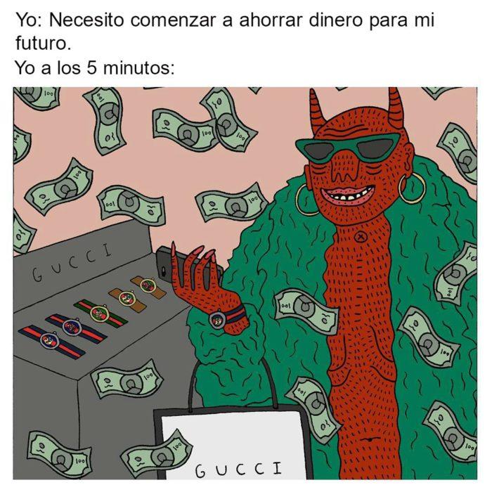meme ilustracion diablo dinero lentes