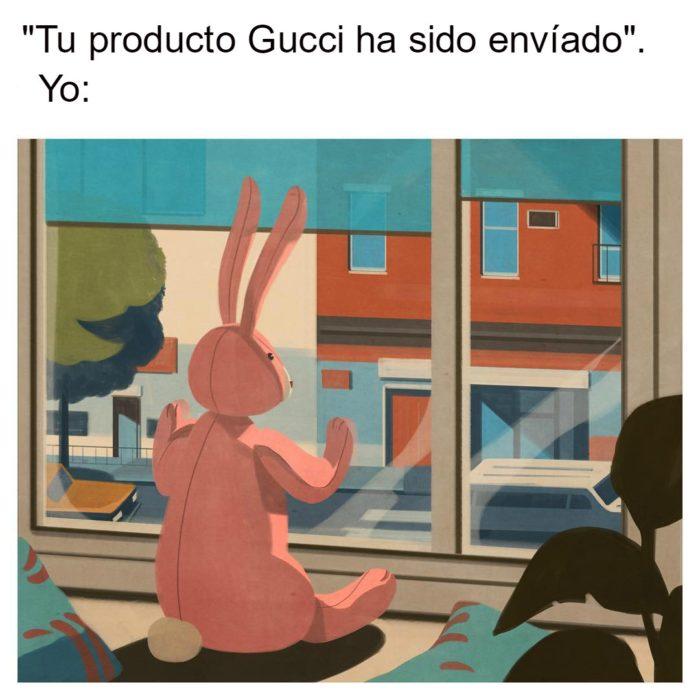 ilustración conejo mirando por la ventana