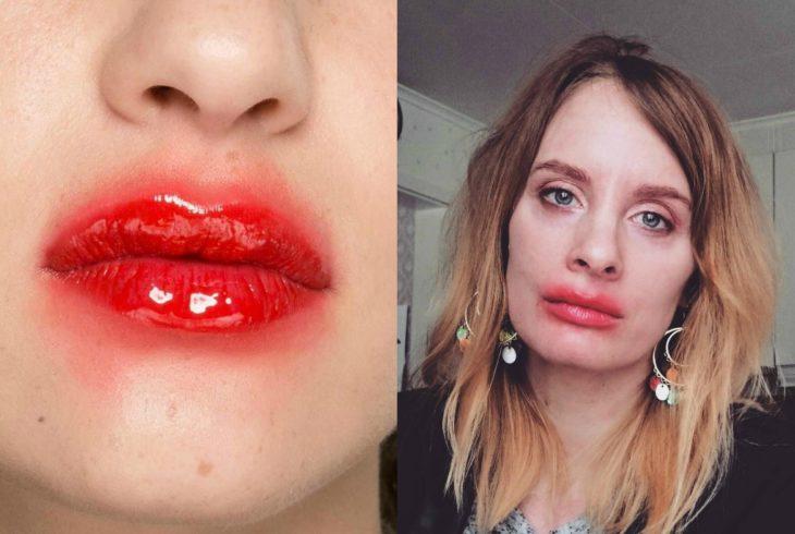 mujer con labios de payaso