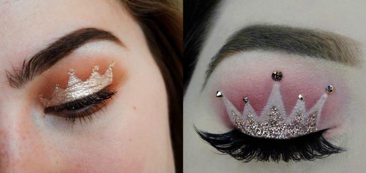 maquillaje de ojos con corona