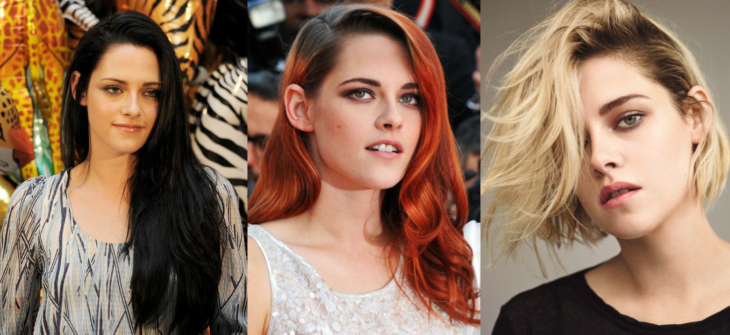 mujer con tres diferentes tipos de peinado y color de cabello