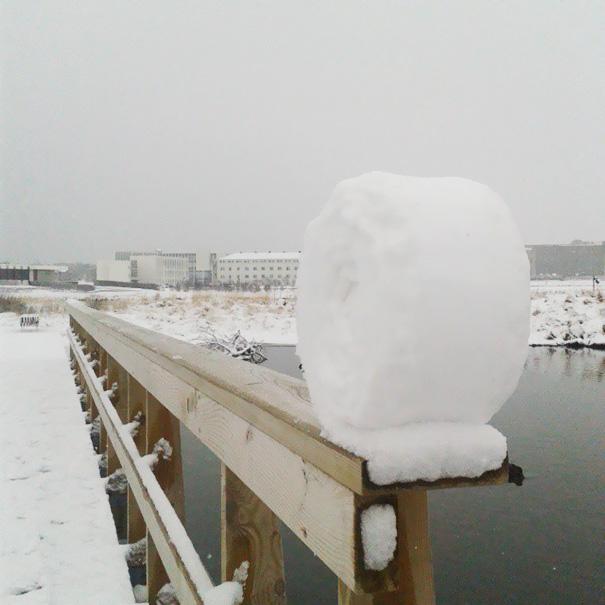 Rollo de nieve al final de una cerca