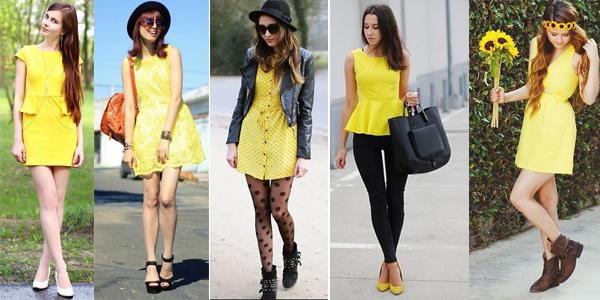 chicas vestidas de amarillo