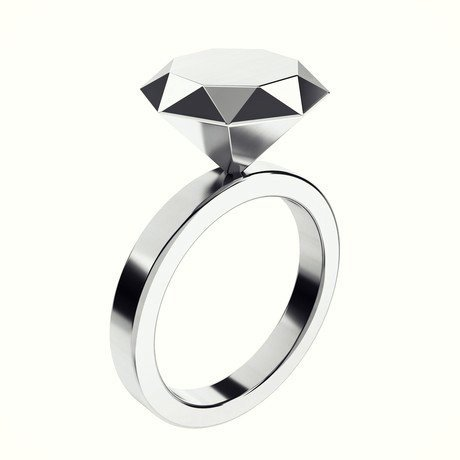 Anillo de compromiso de oro blanco en forma de diamante