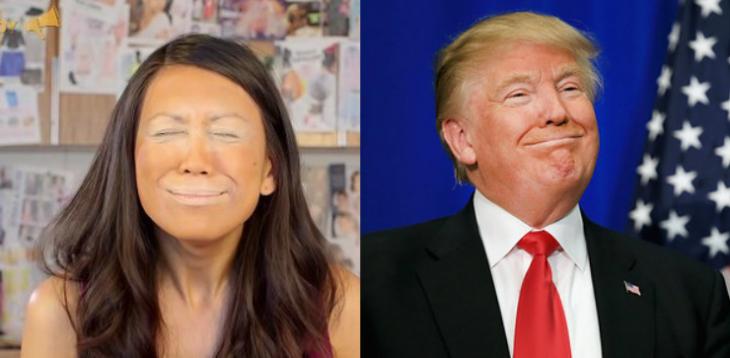 mujer con maquillaje color naranja y hombre con corbata sonriendo