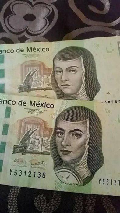 Billete de 200 pesos mexicano con maquillaje