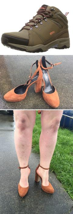 hombre usando zapatos de tacón