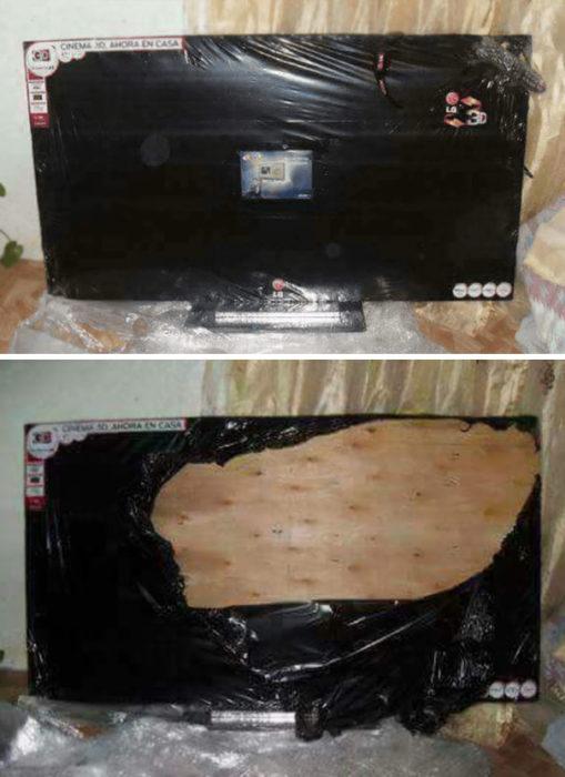 Tabla de madera forrada como una televisión