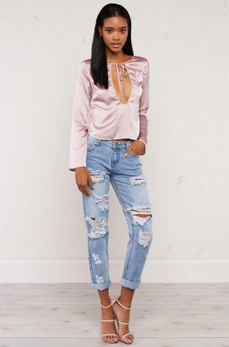 satin y jeans
