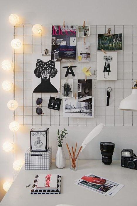 escritorio con luces