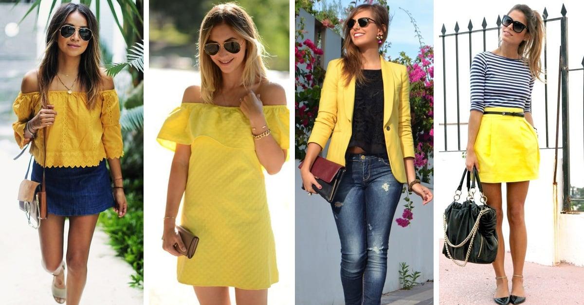 Image result for outfit en amarillo para el verano