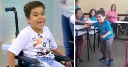 El emocionante momento en que un pequeño de 6 años logra dar sus primeros pasos