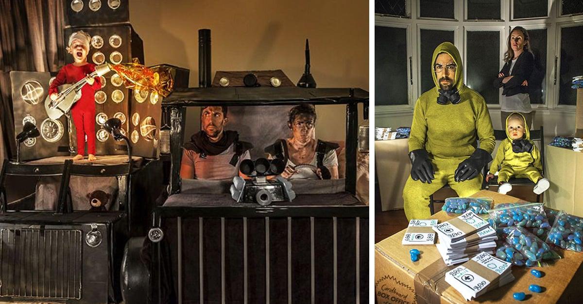 Esta familia recrea escenografías de películas con cajas de cartón