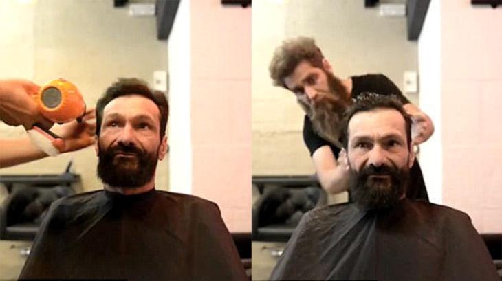 Cambio de look de un hombre sin hogar