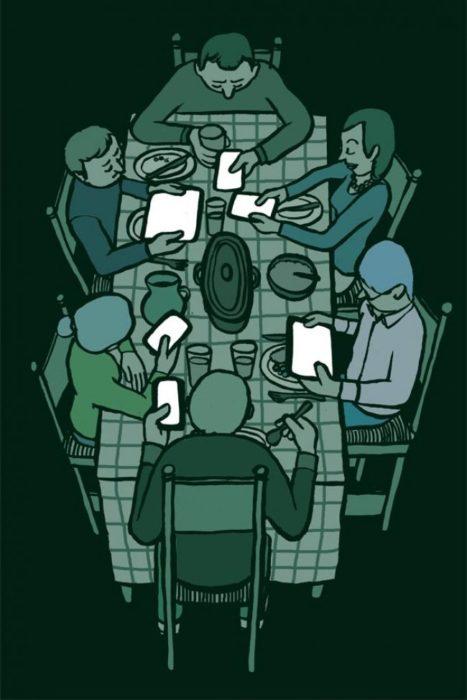 Ilustraciones silencio creado por el celular