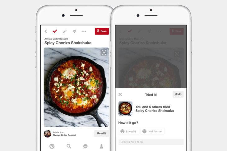 Aplicación Pinterest para comida