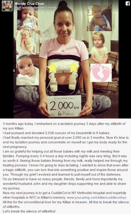 Mensaje en facebook de una mama que dona su leche