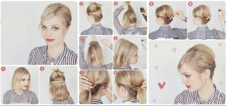 Peinados en chongo con trenzas recogidas atrás para chicas de cabello corto