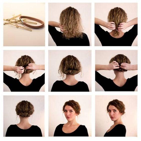 Peinado en chongo para cabello corto y rizado con mechones sueltos