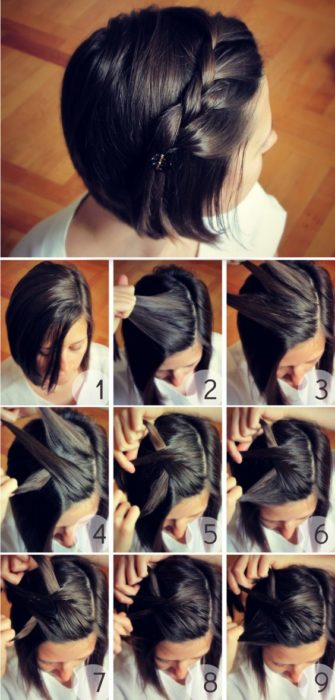 Peinado con trenza a un lado para cabello corto en melena