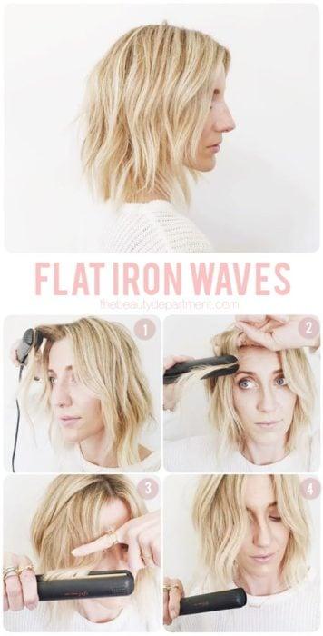 Peinado suelto con ondas hechas con tenaza para cabello corto