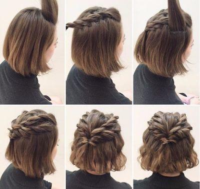 Trenzas anchas en parte superior para cabello midi