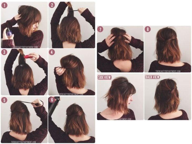Peinado con mechas revueltas y toque vintage para cabello midi o melena