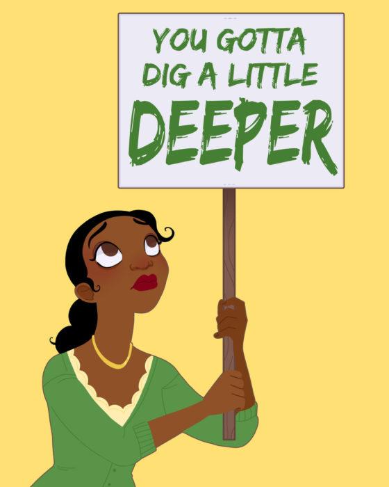 Ilustraciones princesas de Disney defendiendo los derechos de la mujer