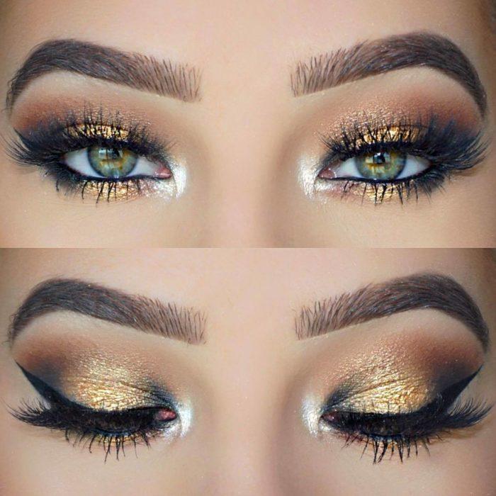 chica con una sombra de ojos color dorada